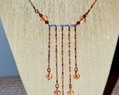 Copper Chain with Peach Crystals