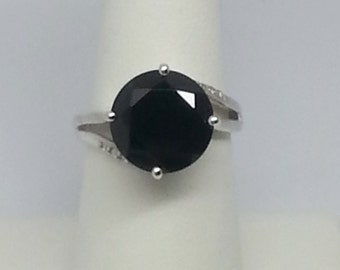 5.70ctw Black Spinel & White Topaz Sterling Silver Ring Size 7.5