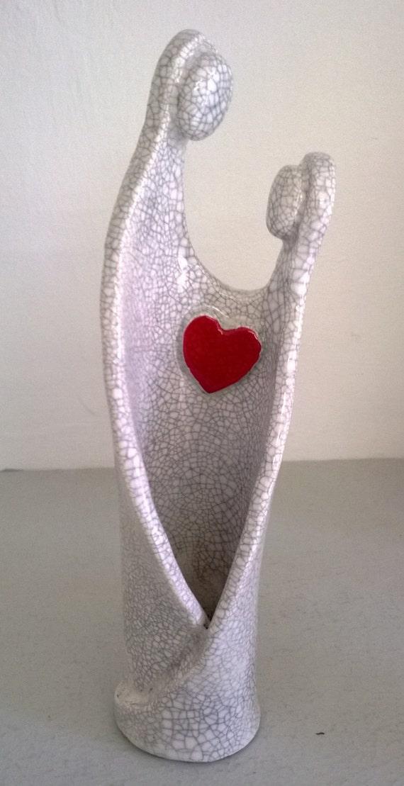 items similar to ceramic raku figure token of love on etsy. Black Bedroom Furniture Sets. Home Design Ideas