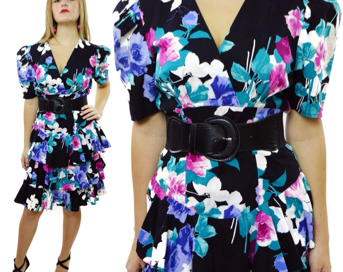 Vintage 90s SMW Style My Way Peplum Floral Cocktail Secretary Sheath Dress