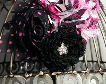 Hot pink and black hair flower, hot pink zebra hair clip, girls hair clips, fancy hair clip, animal print clip, girls flower hair accessory