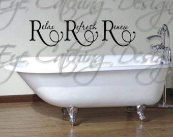 relax refresh renew bathroom bathtub shower quote home decor lettering wall decal vinyl sticker art spa