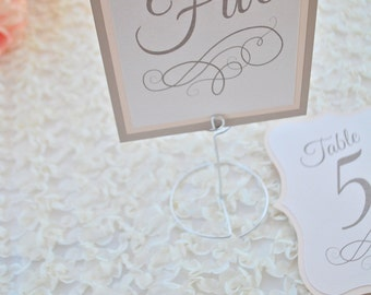 Romantic Champagne and Blush Table number