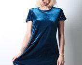 Midnight vintage 90s blue velvet mini dress