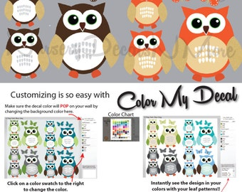 Wall Decals for Kids Rooms, Kids Owl Stickers, Baby Boy Owl Decals (12 Orange & Brown) 12ROO