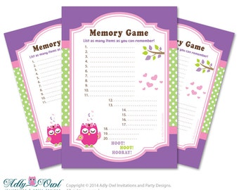 Delightful Girl Owl Memory Game For Baby Shower Printable Card For Baby Owl Shower DIY  Green Purple