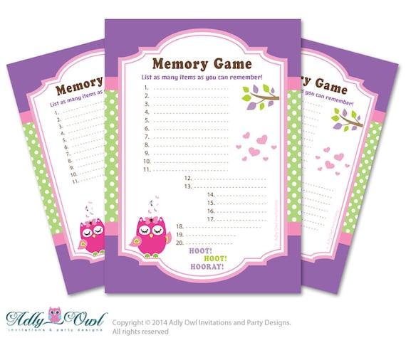 Girl Owl Memory Game For Baby Shower Printable Card For Baby Owl Shower DIY  Green Purple Polka   ONLY Digital File   Ao05bspg16