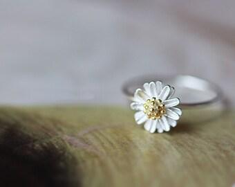 925 Sterling Silver Daisy Flower Spring Silver Ring 495
