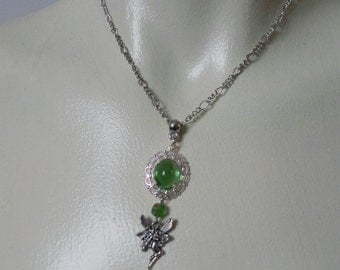 Silver and green  fantasy fairy pendant necklace