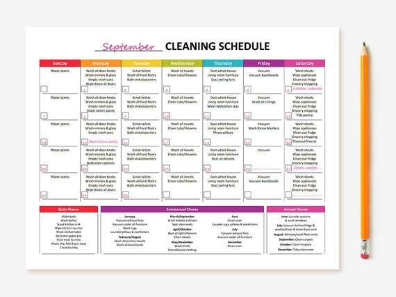 Printable Monthly Cleaning Schedule