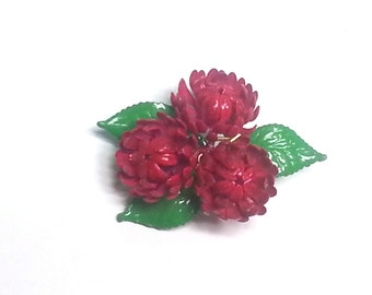 Red Enamel Flower Broach Pin 60s Vintage  RD162 JBX1A4 DeAnnasAttic
