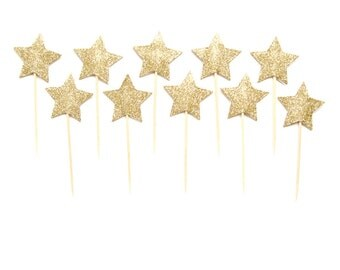 Glitter Star Cupcake Toppers - twinkle twinkle party, little star party, star cake topper, star cupcake toppers, star birthday party