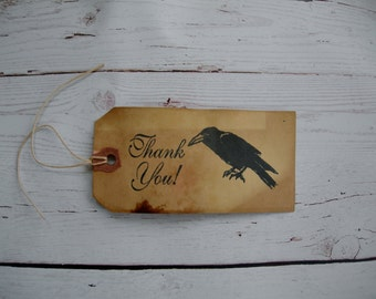 Primitive Country Rustic Farm Hang Tag Gift Tag Craft supply A Crow's Thank You Black Crow 25 Tags large