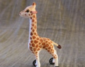 Dollhouse Miniature Giraffe on Wheels Toy