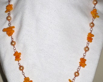 Bright Golden Pearl and Coral Springtime Necklace