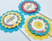 3 - Centerpieces or Cake Toppers - Lego Inspired Happy Birthday Collection - Yellow Red Blue Green Building Block background