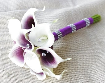 Silk Flower Wedding Bouquet - Purple Heart and Off White Calla Lilies Natural Touch with Crystals Silk Bridal Bouquet