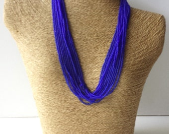 Blue necklace, sapphire blue necklace, royal blue statement necklace, wedding necklace, beaded necklace, bridesmaid necklace,