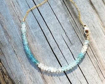 Aquamarine Ombre Gemstone Bracelet. Delicate Sparkle Bracelet. March Birthstone.