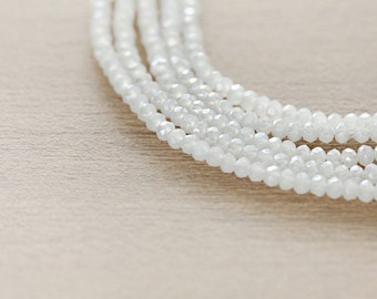 Electroplate Glass Beads - 100 pcs of White Plated Faceted Glass Crystal Rondelle Beads Loose Beads - 2mm