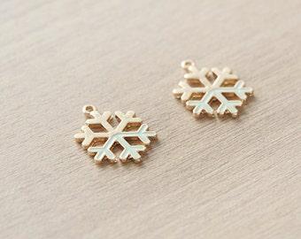 2 pcs of Pastel Mint Christmas Snowflake Enamel Gold Plated Zinc Alloy Pendants - 20 mm
