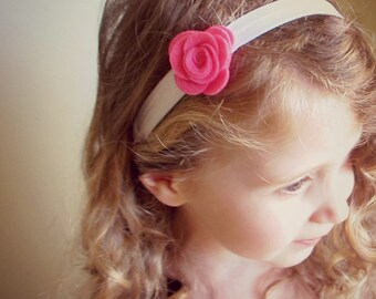 Fuchsia Flower Headband/ White Elastic Headband/ Flower Elastic Headband/ Pink Elastic Headband/ Baby Girl Elastic Headband