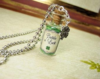 Bottle of Luck 2ml Glass Bottle Necklace Charm - Bottle O' Luck Cork Vial Pendant - Luck Lucky Clover Bottle