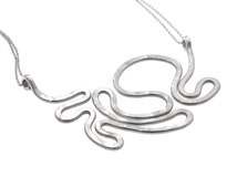 Statement Silver Necklace, Satin Finish Silver, Woman Gift, Sterling Necklace, Solid Stainless Steel Chain, Unique Gift, Abstract Design