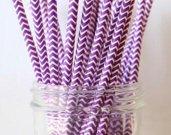 Purple Party Straws, Purple Paper Chevron Straws 25,  Wedding Decor, Wedding Bar Straw, Party Straws, Paper Straw