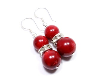 Red Coral Earrings - Sterling Silver Coral Earrings - Coral Jewelry - Red Beaded Drops - Red Coral Dangles - Big Skies Jewellery