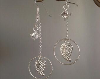 """Earrings 925 Silver Ring """"leaf"""""""