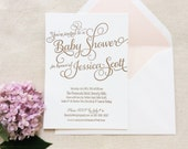 Letterpress Baby Shower Invitations- 25 flat cards - 1 color, calligraphy, script, traditional, modern, simple, gold, white