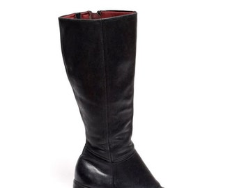 Vintage 90's Chunky Heel Real Leather Zipper Boots
