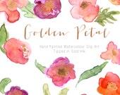Watercolour Flowers - Hand Painted Clip Art - Golden Petal