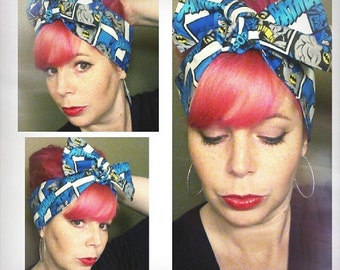 Batman Cosplay Comicon Headwrap Bandana Hair Big Bow Tie 1940s 1950s Vintage Style