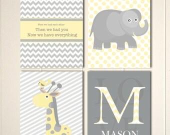 Baby boy nursery, yellow grey nursery art, elephant nursery, giraffe, baby monogram, nursery quotes wall art, set of 4
