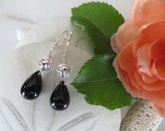 Black Onyx Earrings, Onyx Teardrops, Dangle Earrings, Drop Earrings, Black Earrings, Sterling Silver Earrings, July Birthstone Earrings