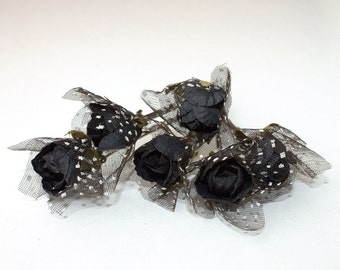 Black Floral Bobby Pins, Bridal Hair Accessories, Wedding Hair Accessories, Set of 6