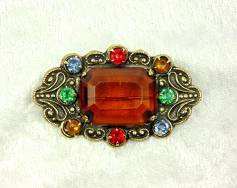 Antique Art Nouveau Topaz Brooch (Glass Topaz)