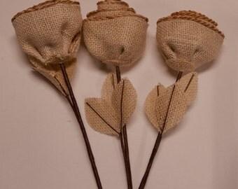 Lot of 3 Burlap Rosebud Picks