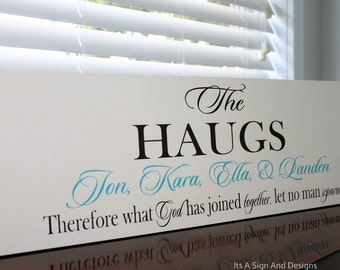 Personalized Family Name Sign painted Wooden Sign What God as Joined together let No Man Separate Wedding gift Plaque Anniversary Religious