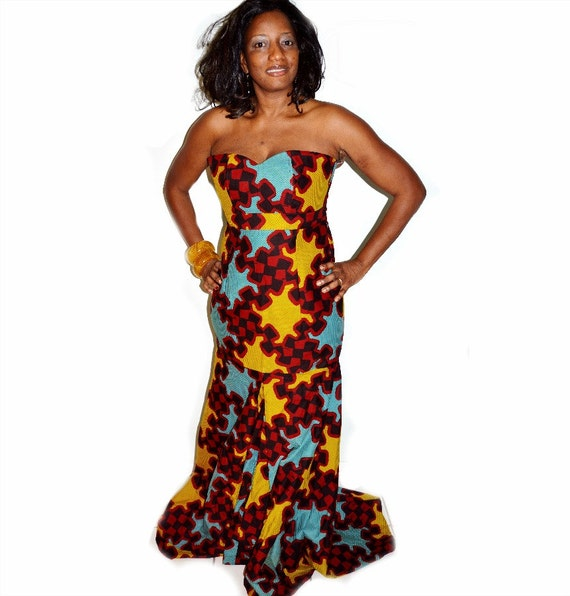 African Ankara Print Formal Dress-Women Evening Club Party Long Full