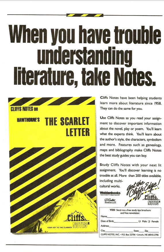 scarlet letter cliff notes 1990 cliffs notes the scarlet letter order form advertisement 24741