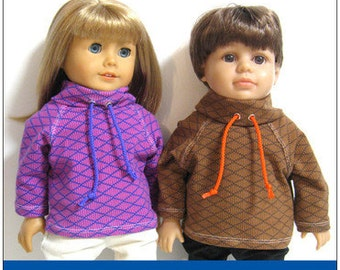 Pixie Faire 123 Mulberry St Cowl Neck Sweatshirt Doll Clothes Pattern for 18 inch AG Dolls - PDF