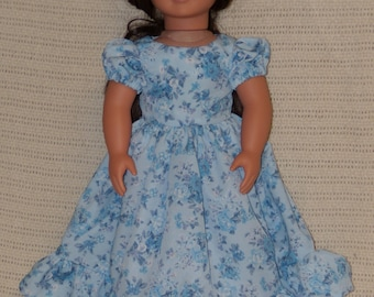 "Light Blue Flowered Ball Gown / Party Dress for 18"" dolls such as American Girl, Our Generation, and others"