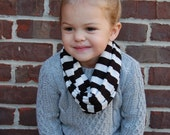 Black and White Stripe Toddler Infinity Scarf
