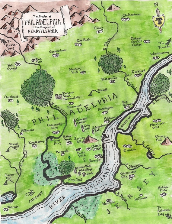 Fantasy map of Philadelphia -- color