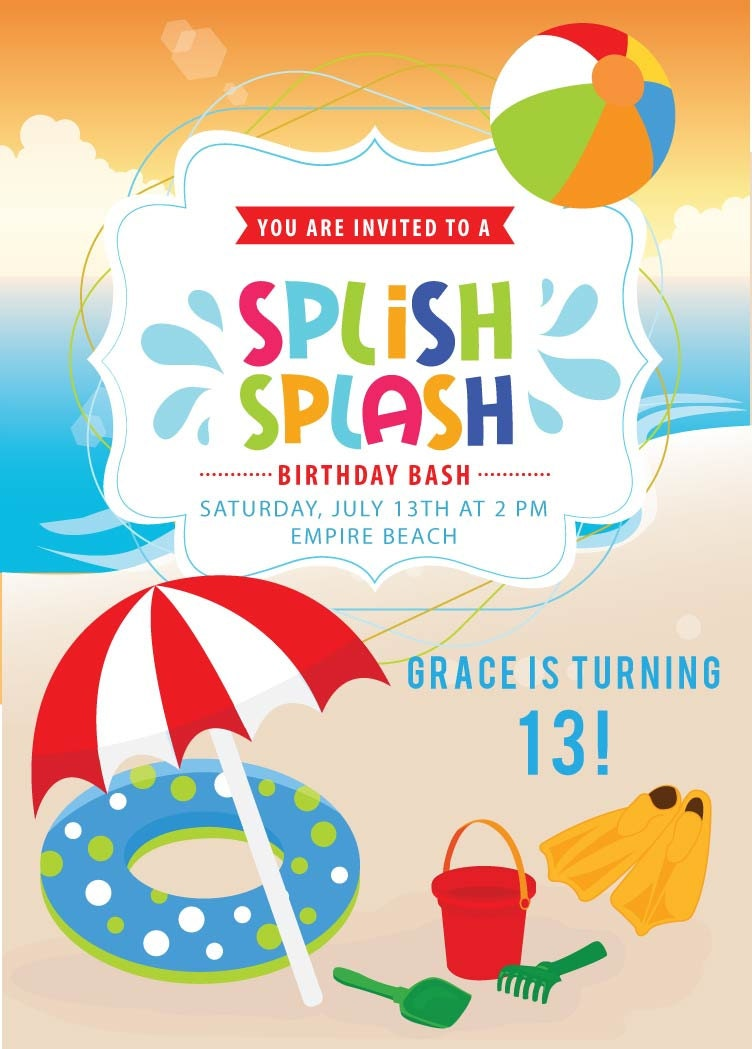 beach invitation boys or girls beach party by announceitfavors