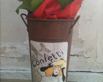 "Toulouse-Lautrec ""Confetti"" Metal Flower Bucket, French Market Flower Tube,  Art Nouvealu Style Illustration"