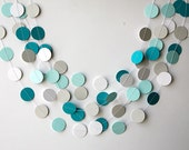 Teal white and gray paper garland, Heart garland, Wedding decoration, bridal shower, Birthday party decor, Paper circle garland, K-C-0061